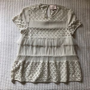 Cinq a Sept white eyelet tulle ruffle top Small